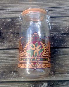 Vintage Arizona Pistachio Company Airtight Jar / Vintage Large Glass Mason Jar / Arizona Western Desert Theme Decor by TheQuaintHome on Etsy
