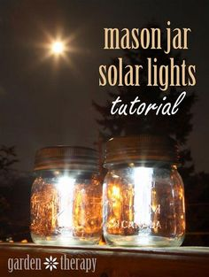 Make your own solar mason jar lights. All you need is mason jars, solar garden stakes and a hot glue gun. This is an easy DIY project that can be done in less… Diy Solar, Solar Light Crafts, Pot Mason Diy, Mason Jar Crafts, Mason Jar Lamp, Pots Mason, Diy Projects To Try, Craft Projects, Craft Ideas