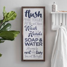 Bathroom Rules Typography Wall Plaque from Kirklands