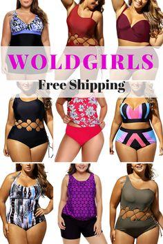 a453195fdb1 Buy Cheap WoldGirls Women s Plus Size Retro Oceanic Stripes Two Piece Tankini  Swimsuit Online -WoldGirls