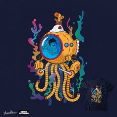 Yellow mecha octo-pod submarine from the past to the future, because tomorrow never knows. Tomorrow Never Knows, Special Characters, Lower Case Letters, Octopus, The Beatles, New Art, Album Covers, The Past, Rock