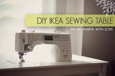 Today I'm pleased to share a DIY IKEA sewing table tutorial showing you how to make a custom sewing table from your INGO dining table. Diy Sewing Table, Sewing Machine Tables, Sewing Machines, Sewing Desk, Sewing Cabinet, Sewing Spaces, My Sewing Room, Ikea Sewing Rooms, Sewing Tutorials