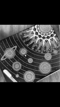 Solar system planets and sun zentangle