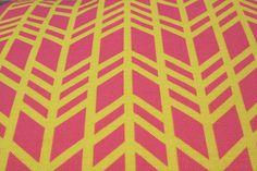 "Home Decor Geometric Fabric - Pink and Citrus - ""Retro Chevron"" ( Fat Quarter 18""x27"") Ships in 1 week. $12.00, via Etsy."