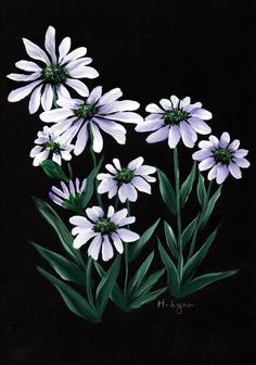 White flower. Painted by Hazel Lynn.