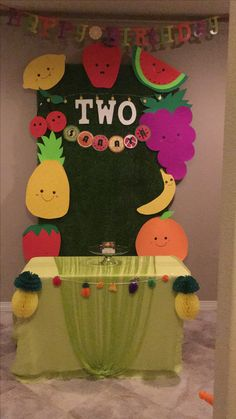 Twotti Fruity cake table Cake Table Birthday, Fruit Birthday, 2nd Birthday Party Themes, Second Birthday Ideas, Girl 2nd Birthday, Birthday Decorations, Fruit Crafts, Fruit Party, Flamingo Party