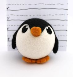 Needle Felted Penguin Roly Poly Penguin by feltmeupdesigns on Etsy