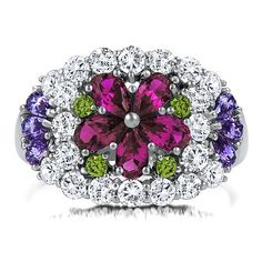 Sterling Silver Multicolor Cubic Zirconia Flower Dome Right Hand Ring from Berricle - Price: $75.99