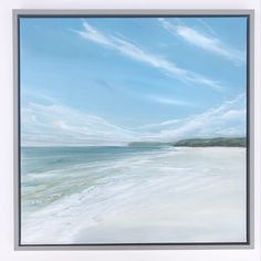 Jane Skingley, Polzeath Beach looking East, oul on canvas, 50x50cm Beach Look, Still Life, Landscapes, Canvas, Water, Outdoor, Paisajes, Tela, Gripe Water