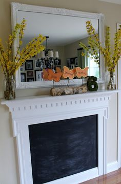 No fireplace?  Make a chalkboard one!  Easy way to make a focal point.
