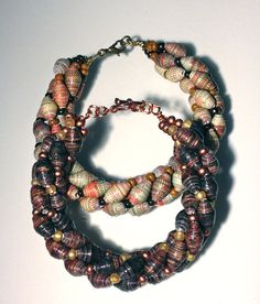 Chocolate Twisted Paper Bead Bracelet ♥ love