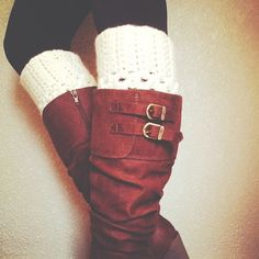 leather boots with leg warmers.