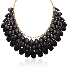 Gold Overlay Black Onyx Crystal Statement Necklace featuring polyvore, women's fashion, jewelry, necklaces, yellow, black onyx necklace, bib necklace, long necklace, crystal bib necklace and yellow necklace
