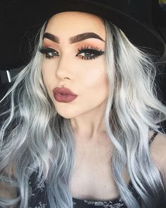 Make-up: silver hair long hair hairstyles eye makeup eyeliner eye shadow dark lipstick piercing eyebrows - Wheretoget Love Makeup, Makeup Tips, Hair Makeup, Dark Lipstick Makeup, Makeup Ideas, 80s Makeup, Witch Makeup, Photo Makeup, Makeup Hacks