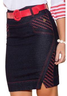 saia jeans escura envelope detalhe vermelhos com cinto via tolentino viaevangelica frente detalhe