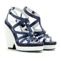 Balenciaga Trainer Espadrille Wedge Sandals in Blue (bleu mineral runs slightly small) | Lyst