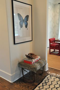 Suzie: Sally Wheat Interiors - Hall to dining room with Beni Ourain Moroccan Rug, cheetah ...