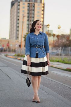 How Girl with Curves blogger Tanesha Awasthi rocks the denim button-down. How do you wear yours?