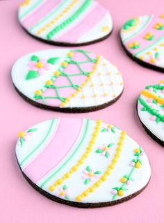 Chocolate Easter egg sugar cookies and five different ways to decorate them (Gwen's Kitchen Creations).