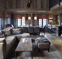 Bilderesultat for chalet interior design Cabin Homes, Log Homes, Chalet Design, House Design, Chalet Style, Chalet Chic, Home Living, Living Room, Chalet Interior