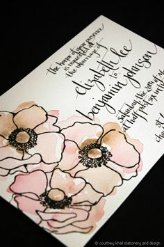 Watercolor with black line drawing flowers mail art envelope Envelope Lettering, Calligraphy Envelope, Envelope Art, Envelope Design, Hand Lettering, Envelope Addressing, Mail Art Envelopes, Pen Pal Letters, Watercolor Poppies