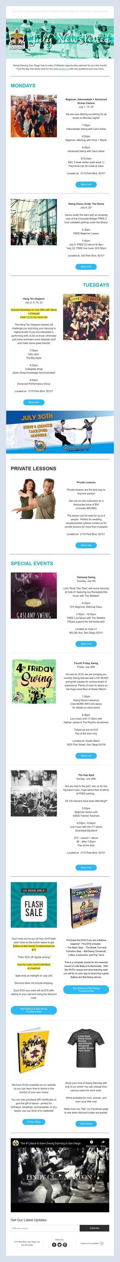 Swing Dancing San Diego has so many FUNtastic opportunities planned for you this month!