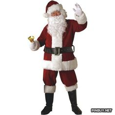 Adult Crimson Regal Plush Santa Suit Rubie's Costume Co - PinBuy