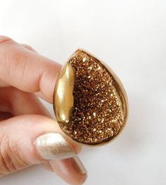 Golden Druzy Cocktail RIng - Metallic Bold Statement Ring  From AtelierYumi on Etsy · Originally posted by atelieryumi