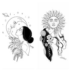 Melanated beauty - Art - Tattoo World Tattoo Sketches, Art Sketches, Art Drawings, Cool Tattoo Drawings, Pretty Drawings, Diy Tattoo, Tattoo Moon, Body Art Tattoos, Small Tattoos