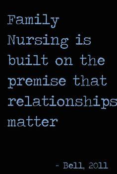 """""""Family nursing is built on the premise that relationships matter"""" (Bell, 2011). #familynursing, #familyhealth, #familyhealing"""