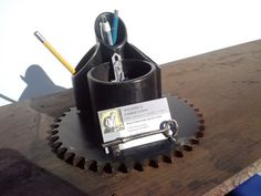 desk organizer. pencil and business card holder with by freshweld, $45.00
