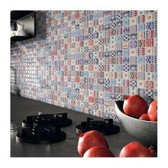 """Glossy glass mosaic with back-printing of patterns reminescent old floor """"cementine"""", but in a fancy and modern way. thickness, on mesh. Ok wall. Types Of Wood Flooring, Solid Wood Flooring, Laminate Flooring, Cork Wood, Italian Tiles, Tile Manufacturers, Different Types Of Wood, Porcelain Tile, Mosaic Glass"""