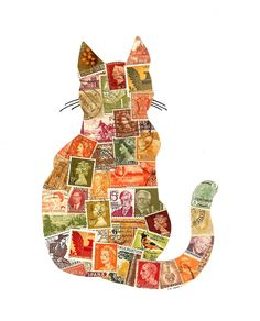 Autumn Cat Postage Stamp Collage: Collection of postage stamps from the US, the UK, India, China, Germany, Norway, Denmark, Canada, Japan, Ceylon, Italy, Hungary, Spain and Belgium.  [previous pinner's caption]