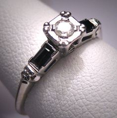 Antique Diamond Sapphire Wedding Ring Vintage by AawsombleiJewelry, $895.00....  Reminds me of my mothers wedding ring..