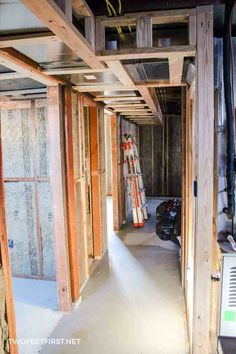 Framing a basement wall against concrete or cinderblock is not as hard as you would think. See the process we took to finish a basement by insulating and framing the walls ourselves. Framing Basement Walls, Basement Windows, Basement Flooring, Basement Insulation, Basement Makeover, Basement Storage, Basement Renovations, Basement Ideas, Basement Studio