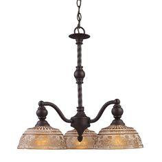 View the Elk Lighting 66196 Norwich Three-Light Chandelier in Oiled Bronze at LightingDirect.com.