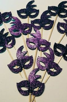 Purple Mardi Gras Mask Cupcake Toppers Set of 12 Masquerade