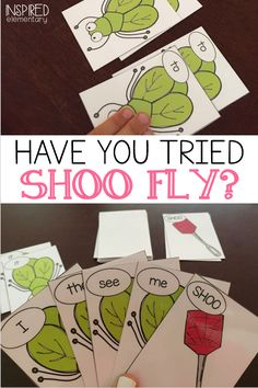 SHOO FLY is a sight word game that helps students read and remember over 200 Abc Activities, Spelling Activities, Sight Word Activities, Kindergarten Activities, Kindergarten Classroom, Readers Workshop Kindergarten, Kindergarten Sight Word Games, Kindergarten Language Arts, Sight Word Centers