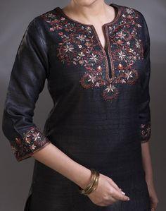 Buy Fabindia Silk Tussar Embroidered Long Kurta Online- Fabindia.com