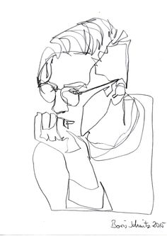 """""""Gaze 222"""", one-continuous-line-drawing by Boris Schmitz, 2015 » click here for my portfolio «"""