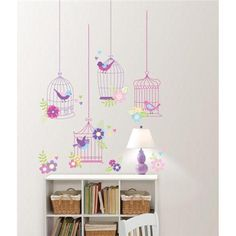 Cute birdcage wall art DIY valentines day decor idea girls room decor idea Chirping The Day Away Removable Wall Decals - WallPops for Kids Wall Art