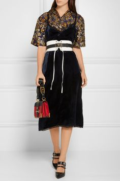 Prada - Lace-trimmed Velvet Dress - Navy - IT40