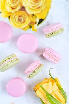 Recipe for adding REAL strawberries to a Swiss Buttercream while keeping it sturdy and not too moist for use as a macaron filling. Includes strawberry macaron template & video.