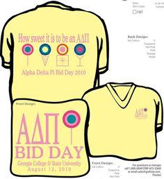 ADPi Bid Day shirt in dylan's candy bar theme.