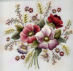 Crewel embroidery of Bouquet Of Flowers - Perfectly Worked, note the regularity of the tension in the stitches.
