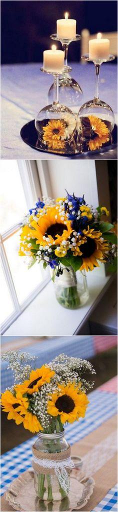 Sunflower themed wedding centerpieces #wedding #weddingideas #weddingdecor #weddingcenterpieces