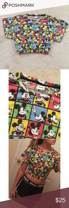 Disney Cropped Mickey Mouse Top Colorful Disney Mickey Mouse crop top. Bought in Germany. Worn once or twice. Super cute. Great condition! Size says 12 UK but fits like a Small US  Disney Tops Crop Tops
