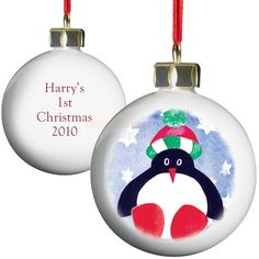 Personalised Penguin Red Nose Bauble