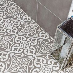 Devonstone Grey Satin floor tile by British Ceramic Tile Traditional looking grey patterned feature floor tile design. Ceramic Floor Tiles, Bathroom Floor Tiles, Morrocan Floor Tiles, Morrocan Tiles Bathroom, Porcelain Floor, Moroccan Tiles, Moroccan Decor, Grey Flooring, Kitchen Flooring