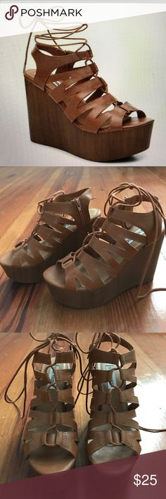 Steve Madden Lace-up Wedge Light brown lace up wedges, very lightly used. Worn only three times max. Very scruff marks on the front of the wedge, but they are not very noticeable Steve Madden Shoes Wedges